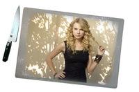 Доска разделочная стеклянная, прямоугольная с текстурной поверхностью с печатью фотографий или лого